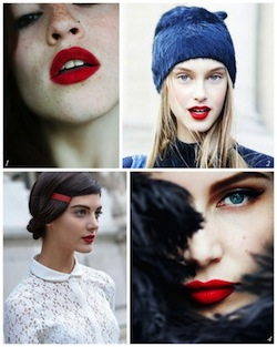 A Bolt of Blue - RED Holiday lips!